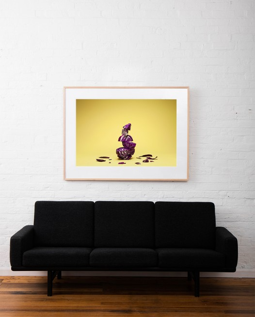 Still Life photo of purple cabbages with yellow background framed in raw timber on white wall above sofa
