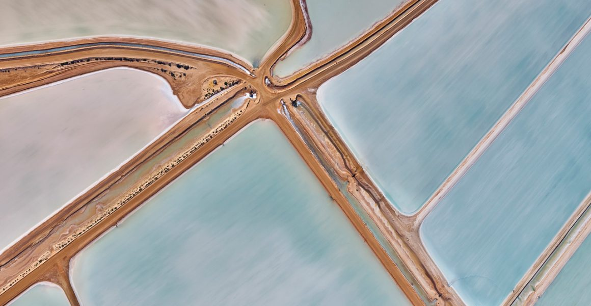 A abstract aerial photo Water in blue and pink taken in Australia