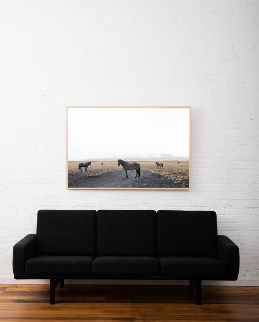 A large landscape photo with horses framed in raw timber above sofa